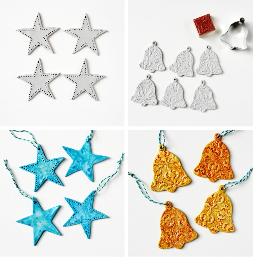 Diy Watercolour Clay Christmas Decorations