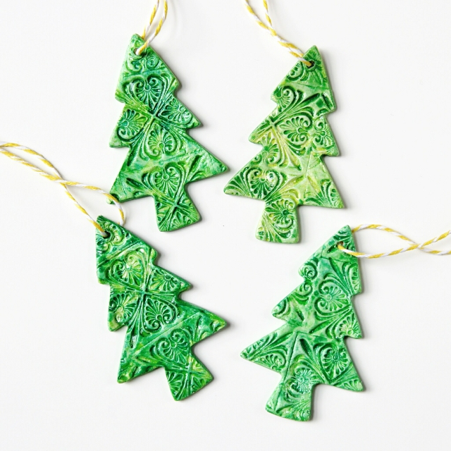 Diy Watercolour Clay Christmas Tree Decorations