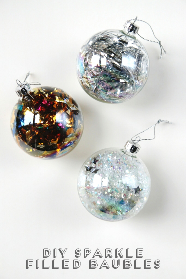 Diy sparkle filled christmas baubles gathering beauty diy sparkle filled christmas baubles solutioingenieria Gallery