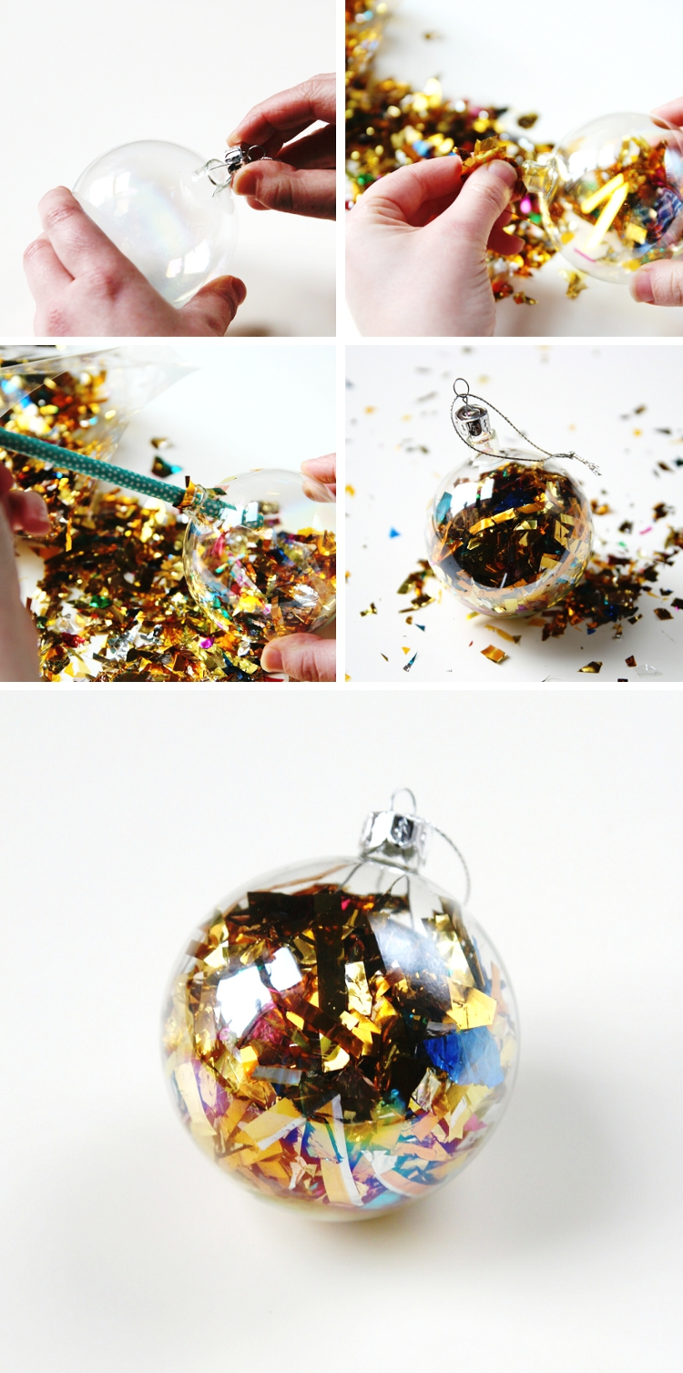 Diy sparkle filled christmas baubles gathering beauty diy confetti foil filled christmas baubles solutioingenieria Images
