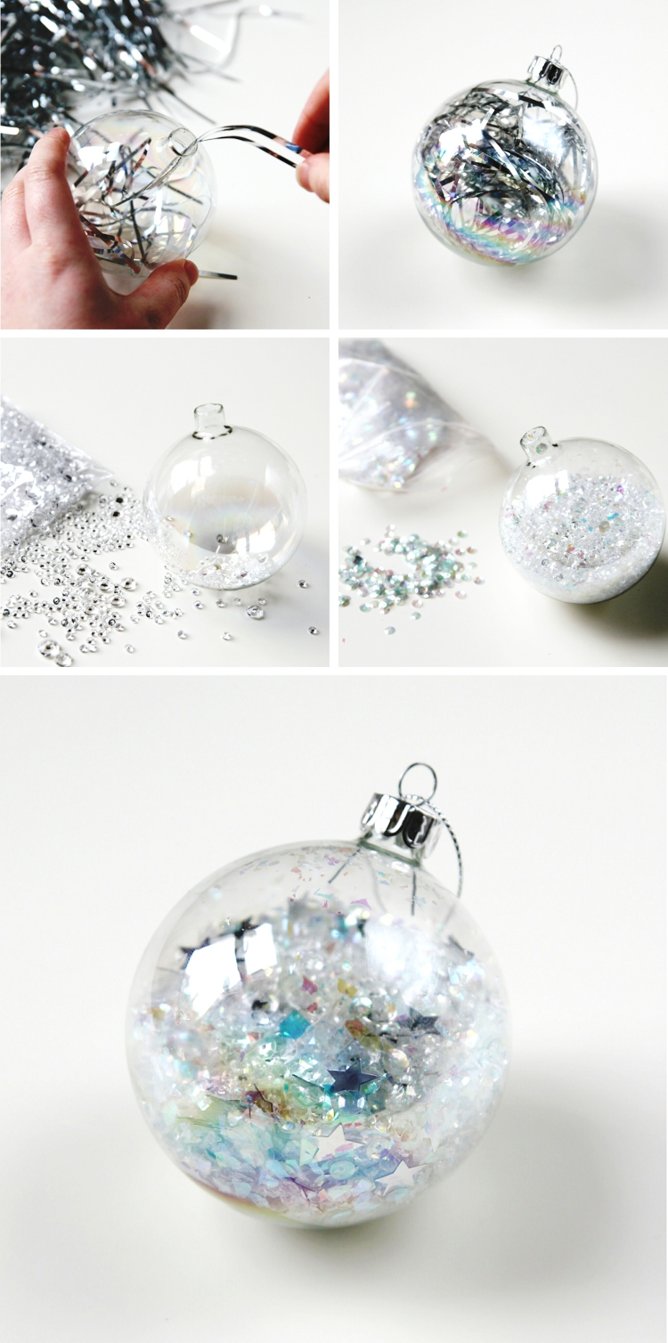 Diy sparkle filled christmas baubles gathering beauty diy silver tinsel filled christmas baubles solutioingenieria Images