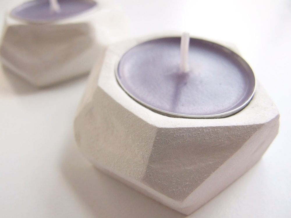 Diy Faceted Clay Tea Light Holders