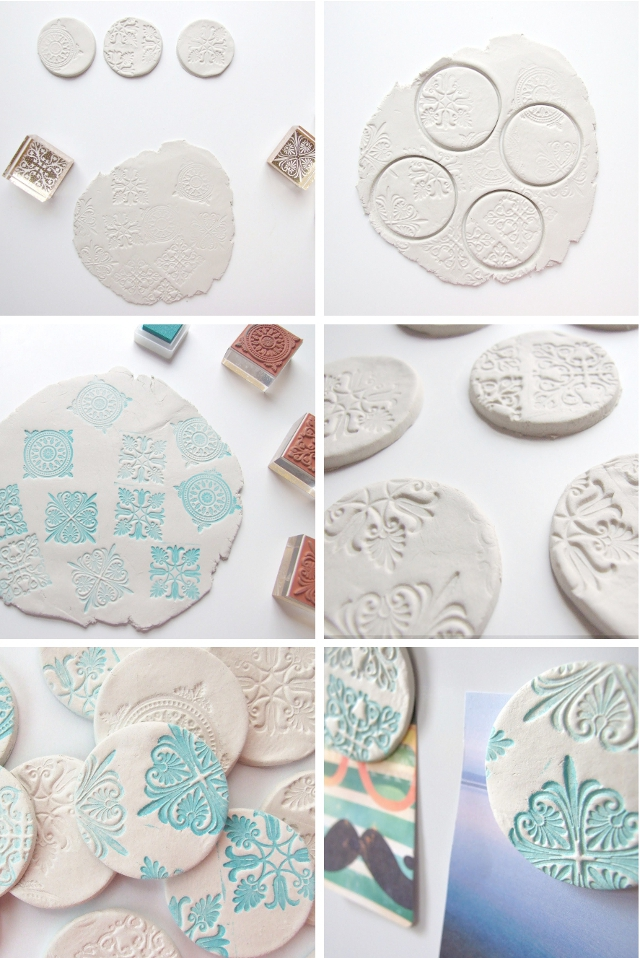 How to make your own Stamped Clay Magnets using air dry clay.