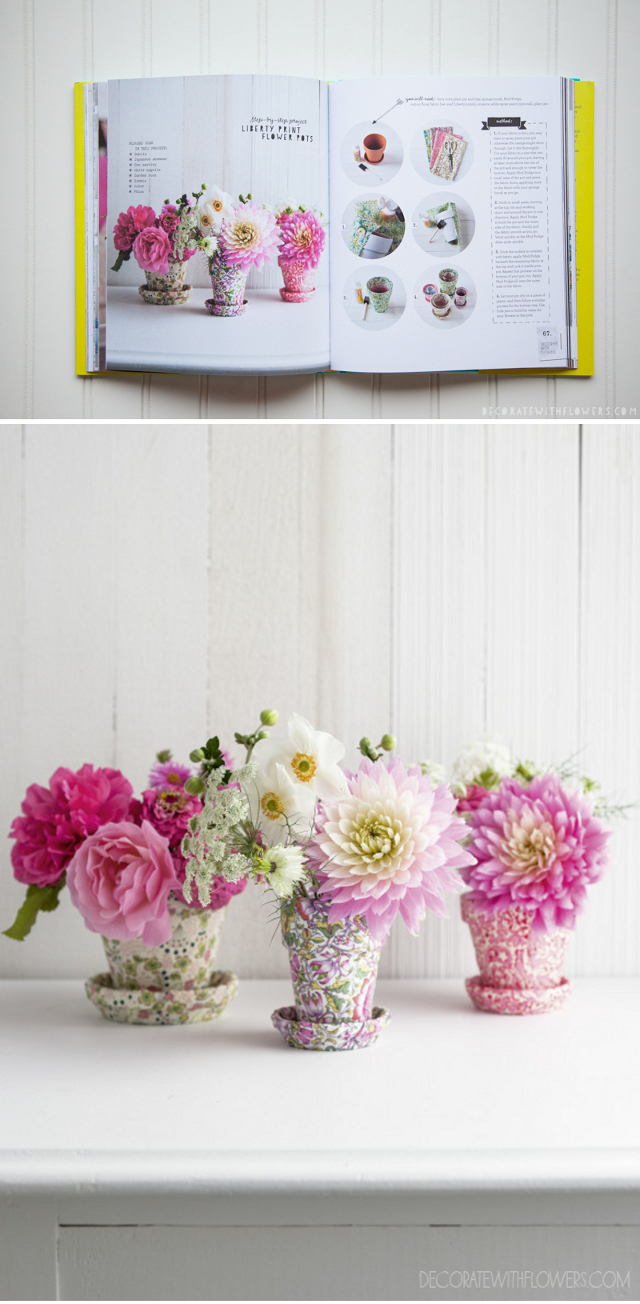 Liberty Print Flower Pot Diy from Decorate With Flowers by Holly Becker and Leslie Shewring