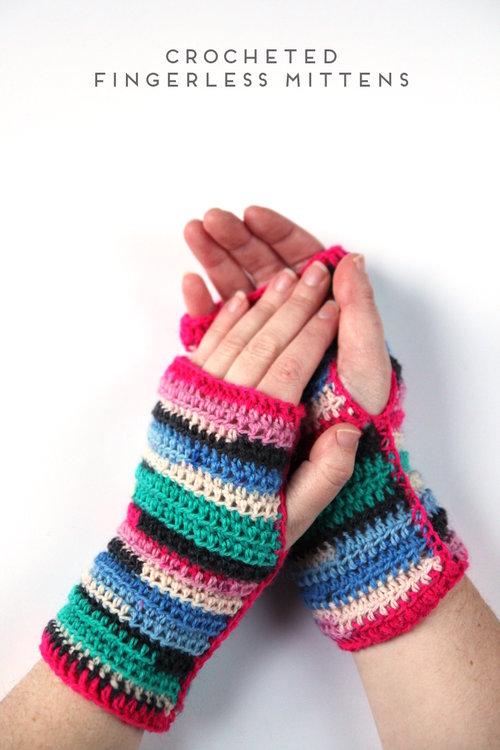Crocheted Fingerless Mittens Gathering Beauty