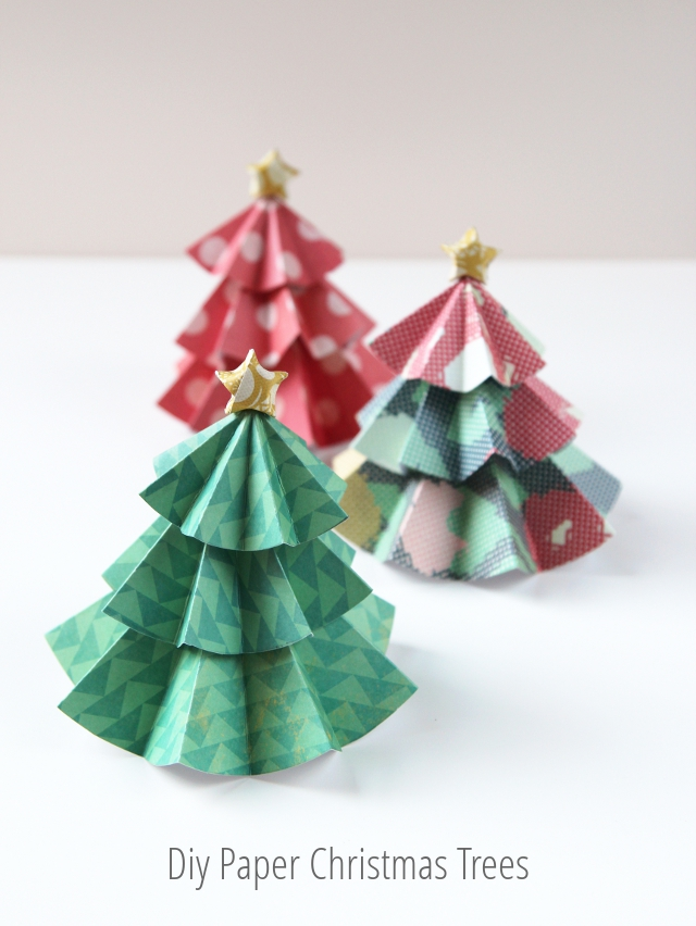 Paper Christmas Tree.Diy Paper Christmas Trees Topped With Origami Stars