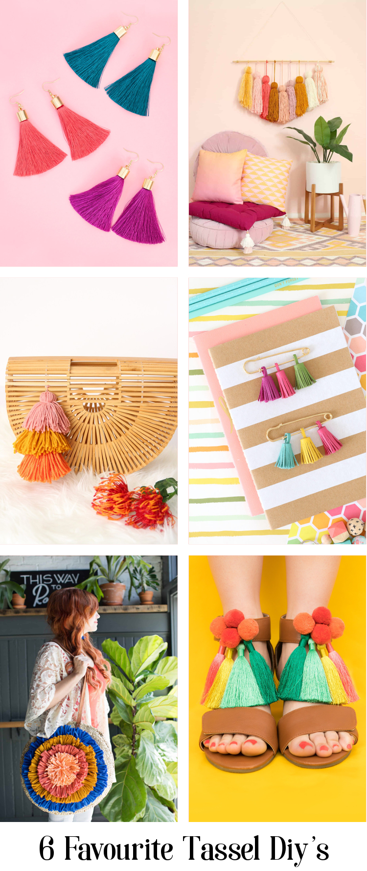 Add a touch of flair to your bag, shoes and even your walls with one of these easy tassel diy's. A bright, cheery craft perfect for summer #tassel #yarn #summer
