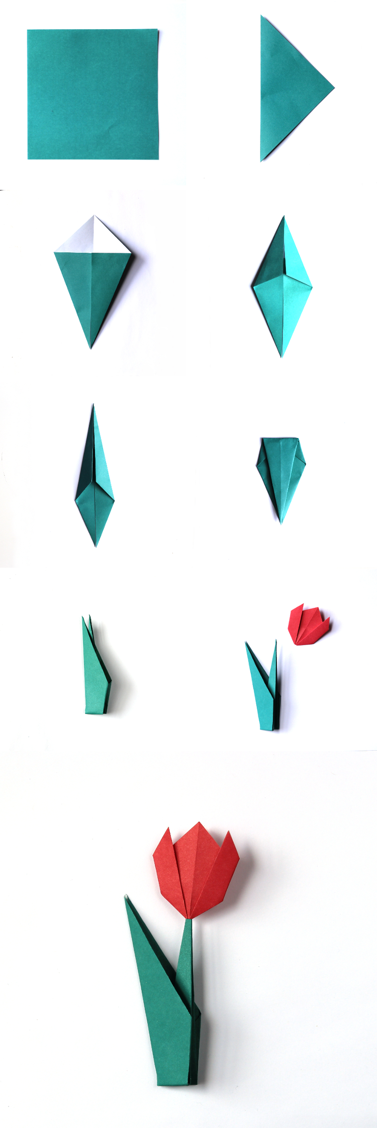 HOW TO MAKE ORIGAMI TULIP FLOWERS