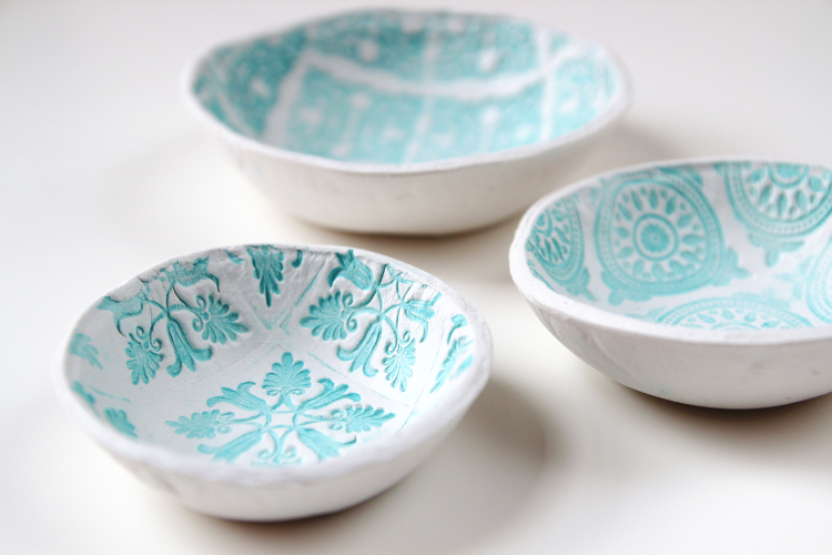 make your own diy stamped clay bowls using air dry clay gathering