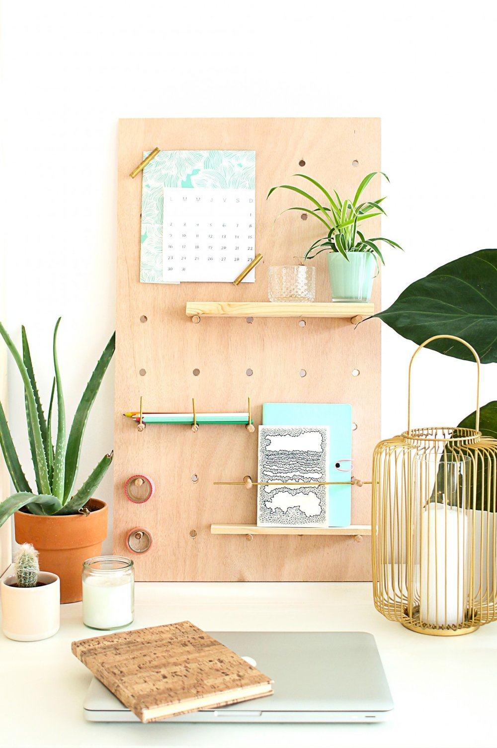 DIY PEGBOARD FOR OFFICE IN PLYWOOD from mademoiselle claudine