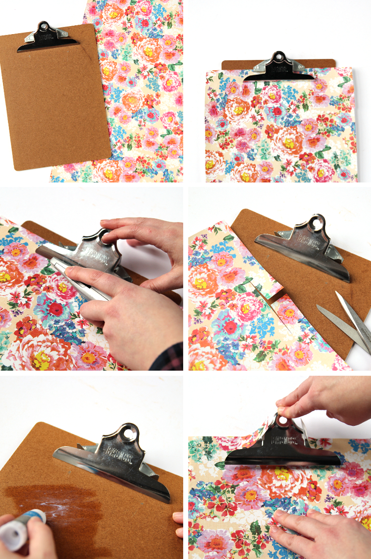 how to decorate and cover a clipboard using wrapping paper