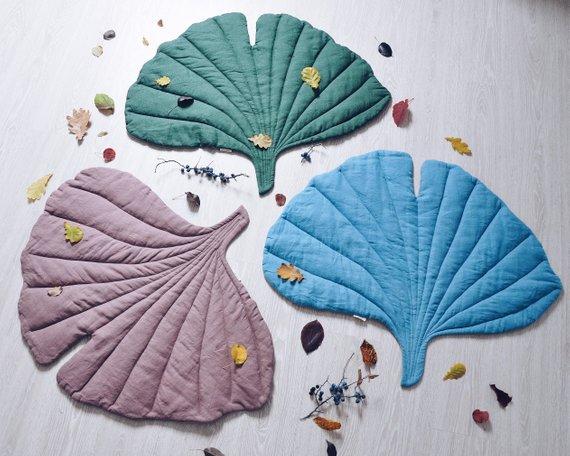 OMOLOKO linen leaf playmat etsy