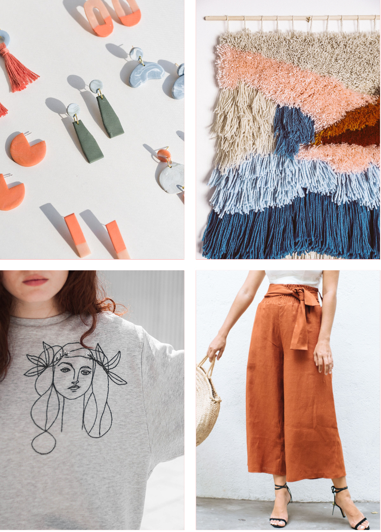 4 DIY'S TO MAKE - EARRINGS, LATCH-HOOK WALL HANGING, AN EMBROIDERED SWEATSHIRT AND SOME WIDE LEGGED PANTS.