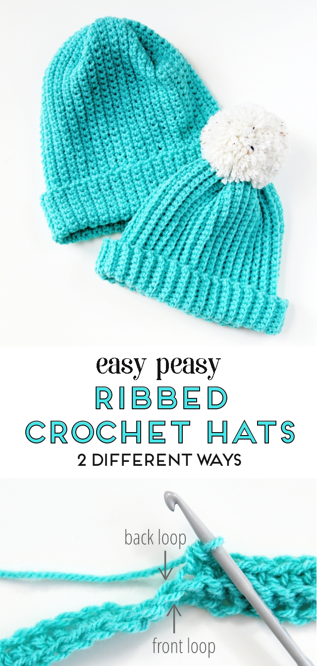 Easy peasy ribbed crochet hats with free pattern - 2 different ways  crochet   hat 3e3ea3762d6