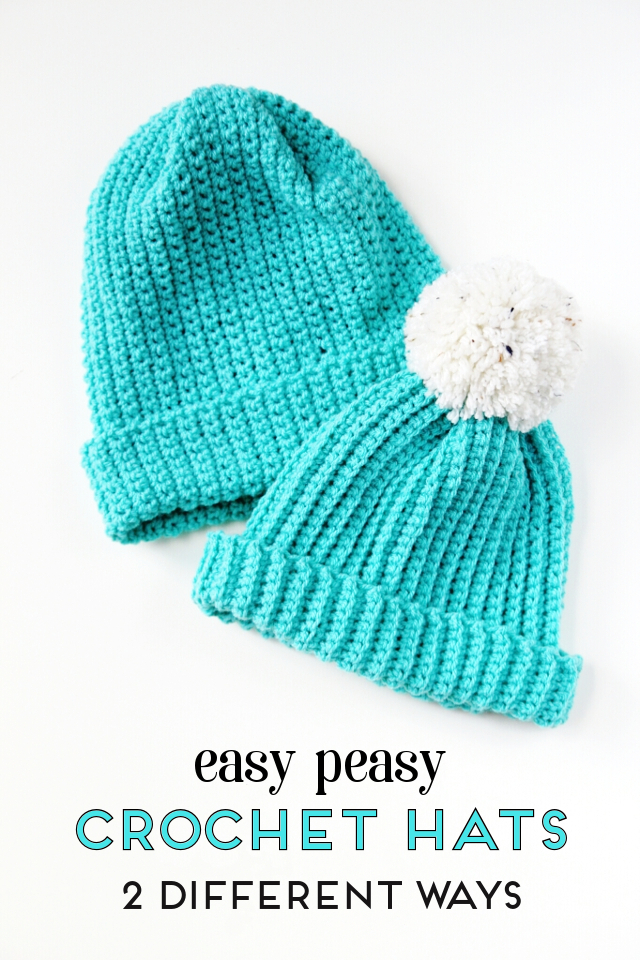 Easy peasy ribbed crochet hats with free pattern - 2 different ways  crochet   hat a3bd874b3a7
