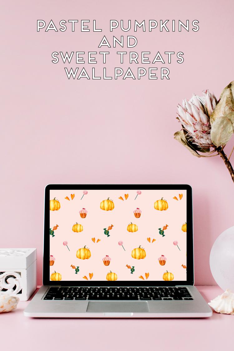 Free Pretty Pastel Pumpkins And Sweet Treats Halloween Desktop Wallpaper Desktopwallpaper Freedownload Freewallpaper