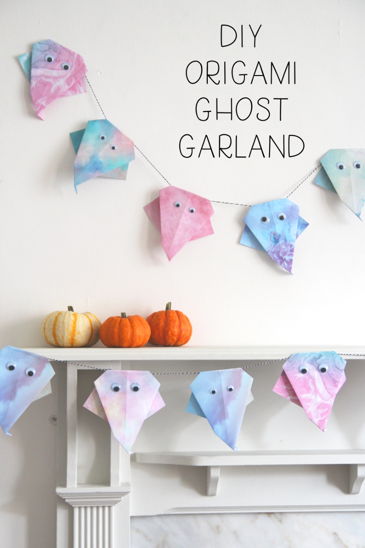 MAKE A NOT SO SPOOKY DIY PASTEL ORIGAMI GHOST GARLAND THIS HALLOWEEN #halloween #origami #ghost #garland #party #decoration #halloweendecoration #gatheringbeauty