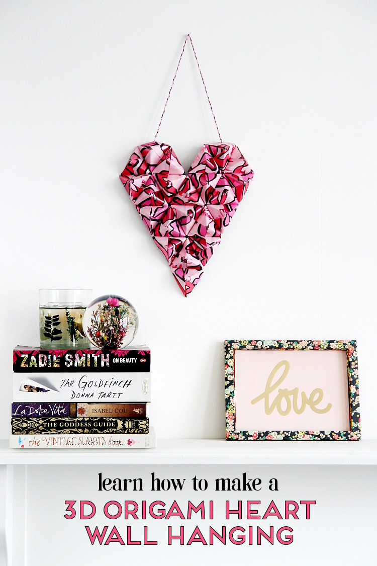MAKE YOUR OWN DIY 3D ORIGAMI HEART WALL HANGING FOR VALENTINES DAY #diy #crafts #valentines #valentinescrafts #valentinesday #valentinesdaycrafts #heart #origami #heart #origamiheart #wallhanging #gatheringbeauty