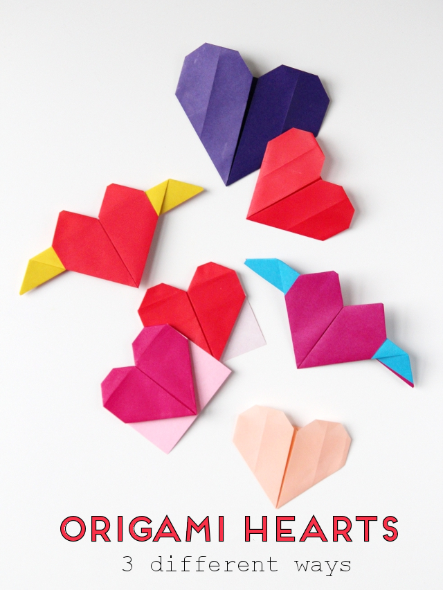 Easy DIY Origami Heart with Wings Folding Instructions - Kids Can Make | 852x640