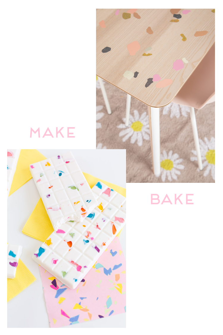 MAKE OR BAKE - DIY TERRAZZO DECORATED TABLES AND CHOCOLATE BARS #DIY #TERRAZZO #CRAFTS #MAKEORBAKE #GATHERINGBEAUTY