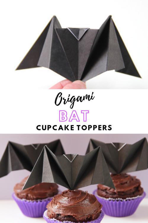 Diy Origami Bat Cupcake Toppers Gathering Beauty