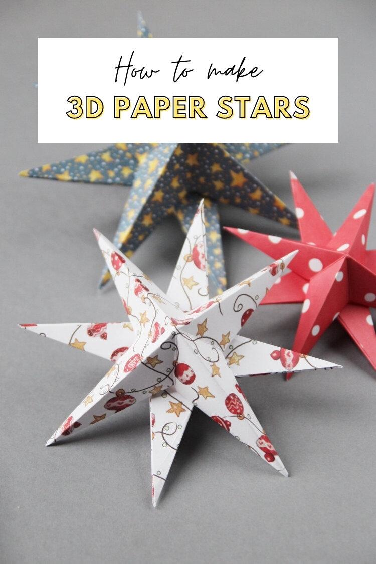 diy 3d paper star christmas decorations gathering beauty - Christmas Decor Diy