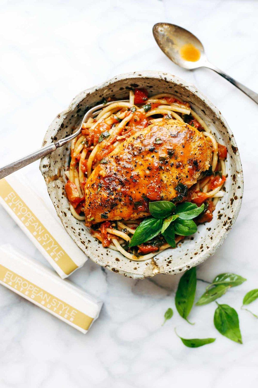 http://pinchofyum.com/garlic-basil-chicken-with-tomato-butter-sauce