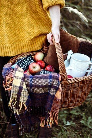 On your own?  Grab your current page turner and pack a basket full of comforting food.  Don't forget the blanket...  Via Pinterest