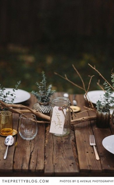 Got a little more time on your hands?  Decorate your garden table with some bits selected from the garden or nearby woods.  Go for the longer twigs, leaves in rich yellows, golds and reds, and small bits of foliage.  Image courtesy of  The Pretty Blog