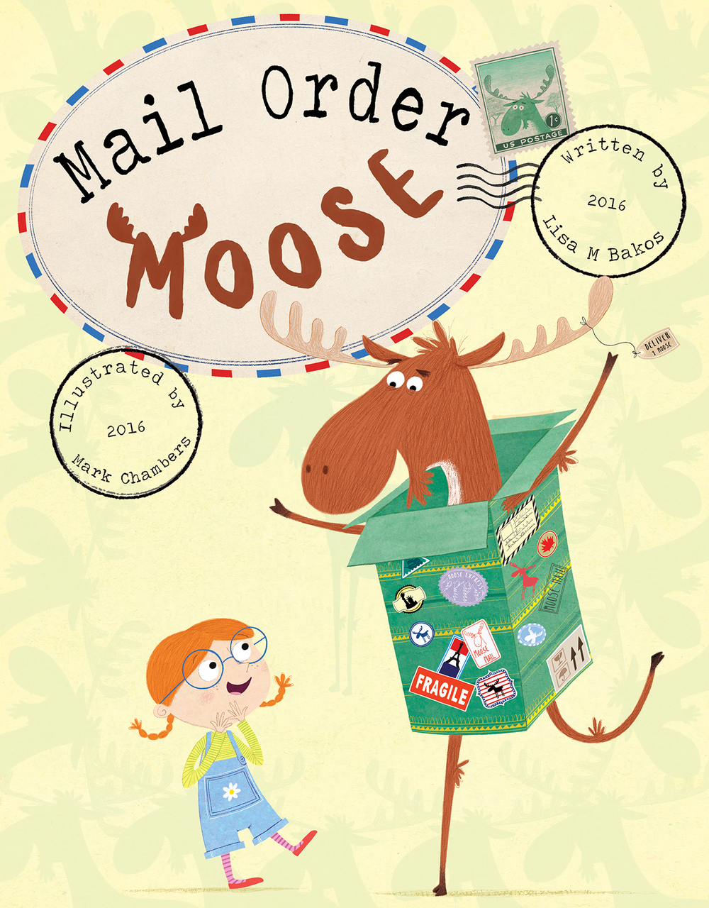 So it moved onto Martha literally falling off her feet with excitement and our moose bursting out of a box. The colours used here were perceived as a bit 'Christmassy' and as it's a Summer publication they needed to change. The slightly washed out moose in the background were to change as well as the cover wasn't leaping out enough.