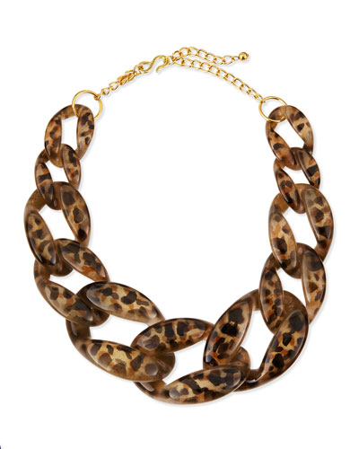 Kenneth Jay Lane leopard print link necklace, Neiman Marcus