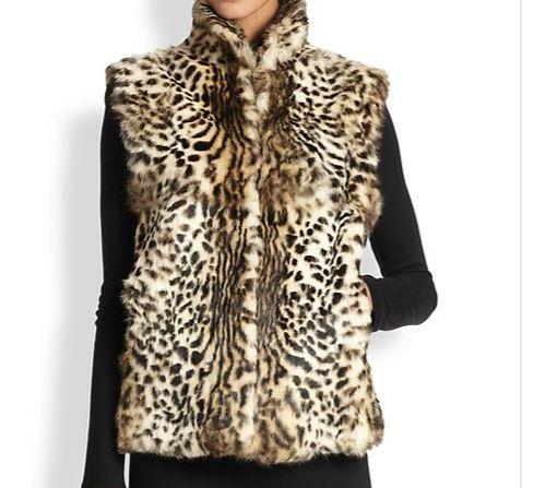 Adrienne Landau leopard print rabbit fur vest, Saks Fifth Avenue