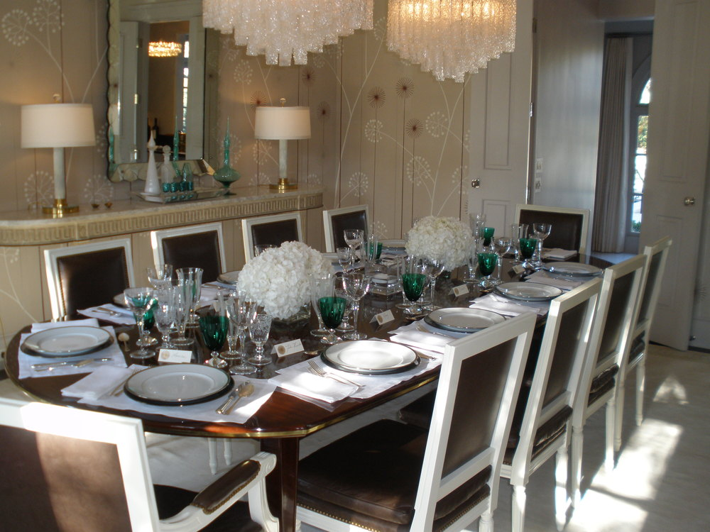 A table at the McDonald house set up for a brunch party