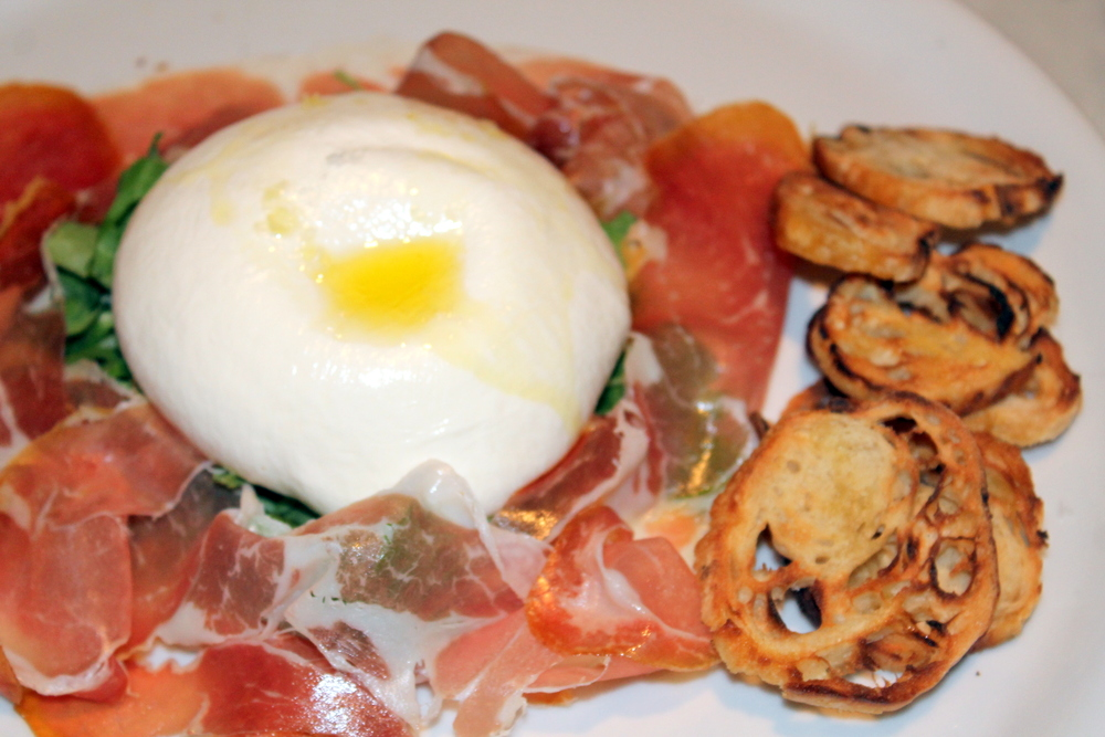 Brick + WOOD, Fairfield CT - Burrata with truffle oil and freshly shaved prosciutto   Image Jessica Gordon Ryan