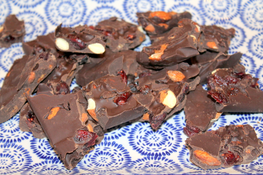 Chocolate Bark with Spiced nuts and C  ranberries