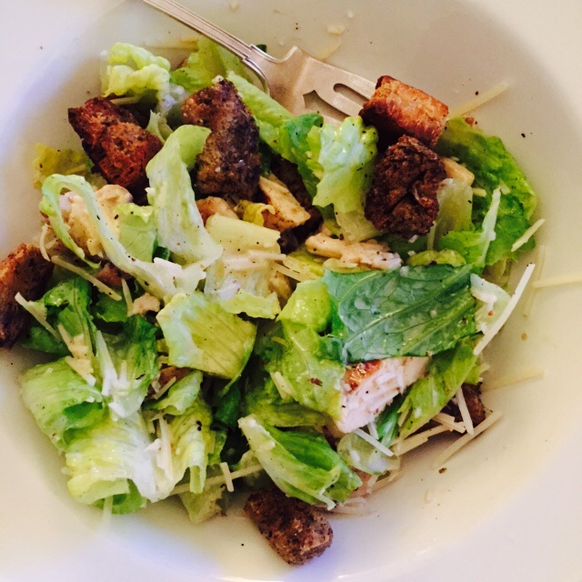 Turkey Caesar Salad with Olive Bread Croutons Image via Jessica Gordon Ryan, taken with an iPhone 6