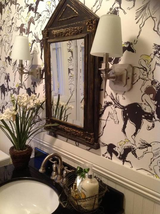 Dress your home in Hermes Equestrian wallpaper - Image via  Pinterest  (original source unknown)
