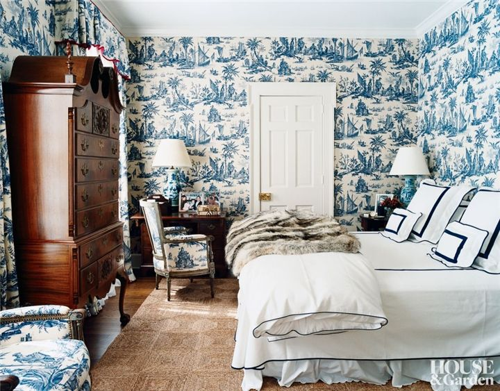 Dress your bedroom walls with whimsy - Image  via (First appeared in House & Garden)