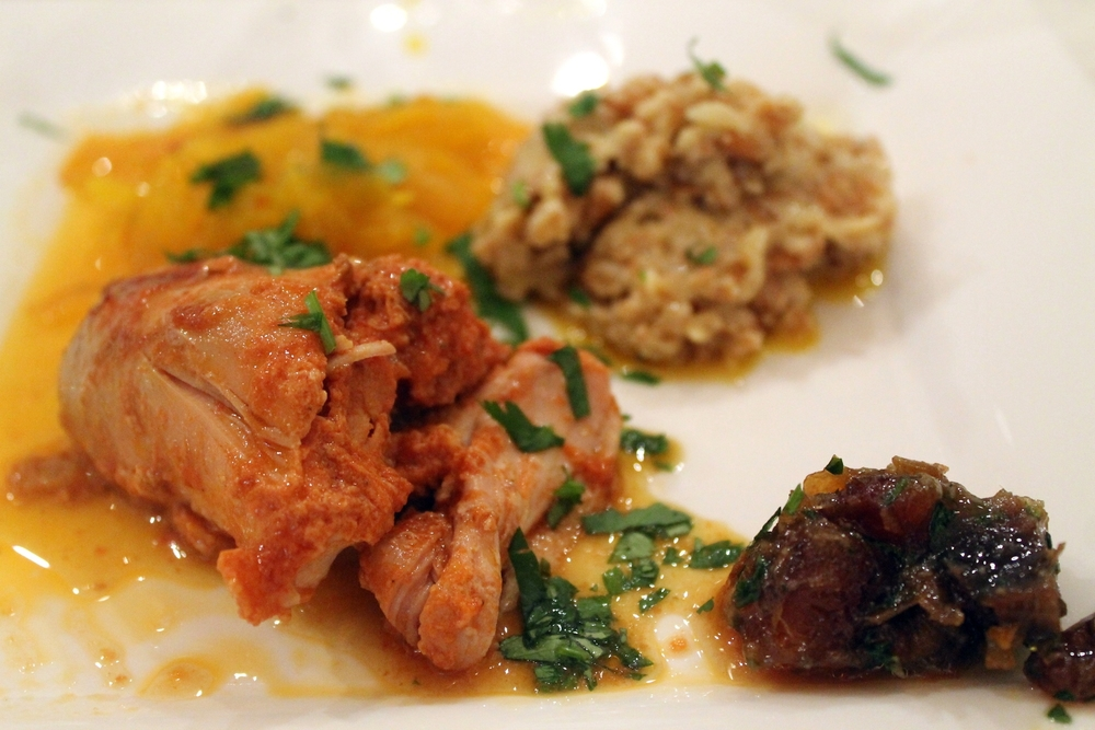 Warming Winter Dinner: Braised Chicken with Farro, Saffron Onions, Farrotto and Date Chutney Tagine Image via Jessica Gordon Ryan