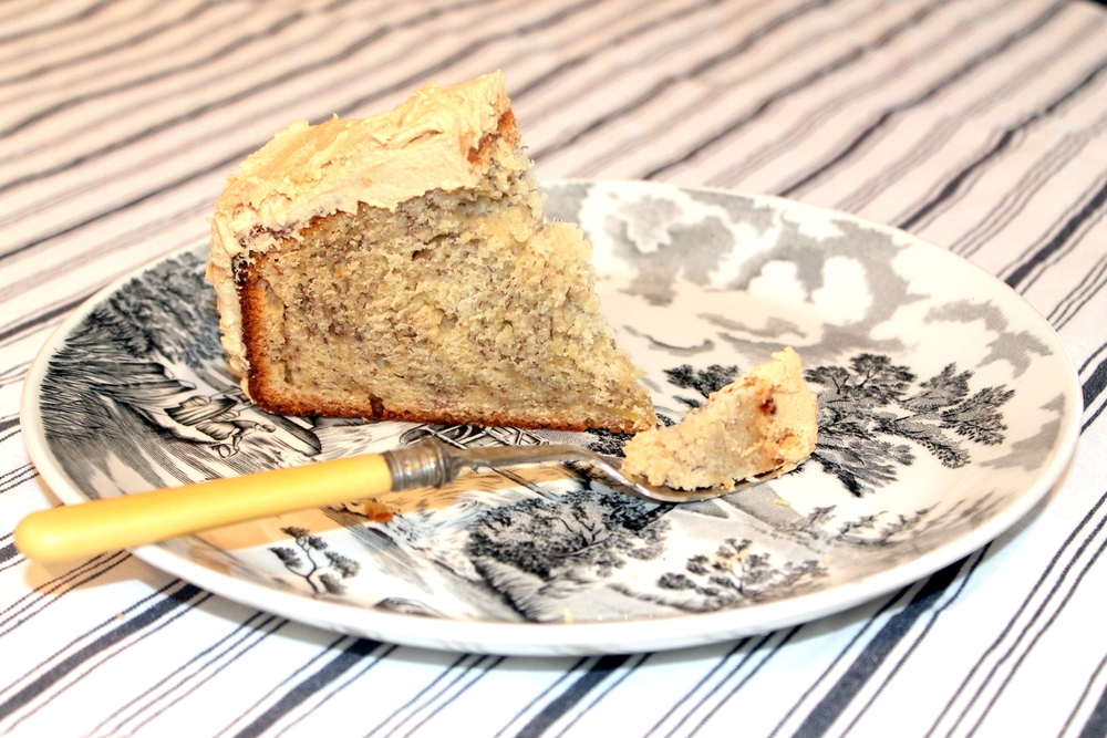 Simple to bake Banana cake with Peanut butter frosting. Images via The Entertaining House