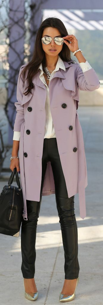 A lavender trench jacket lightens up the leather pants, as do the metallic shoes.