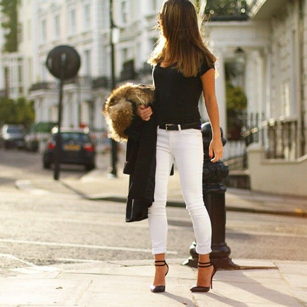 Dressing for the change of seasons - White jeans and fur can co-exist beautifully!