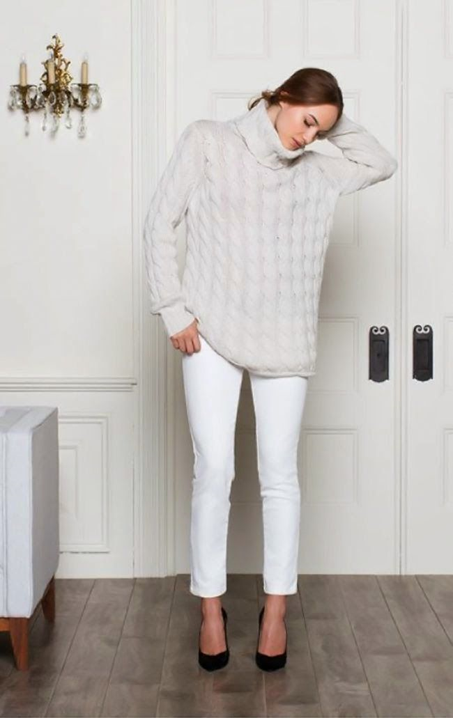 White jeans are always appropriate! Pair them with a warm, chunky sweater that can be taken off when the day warms up