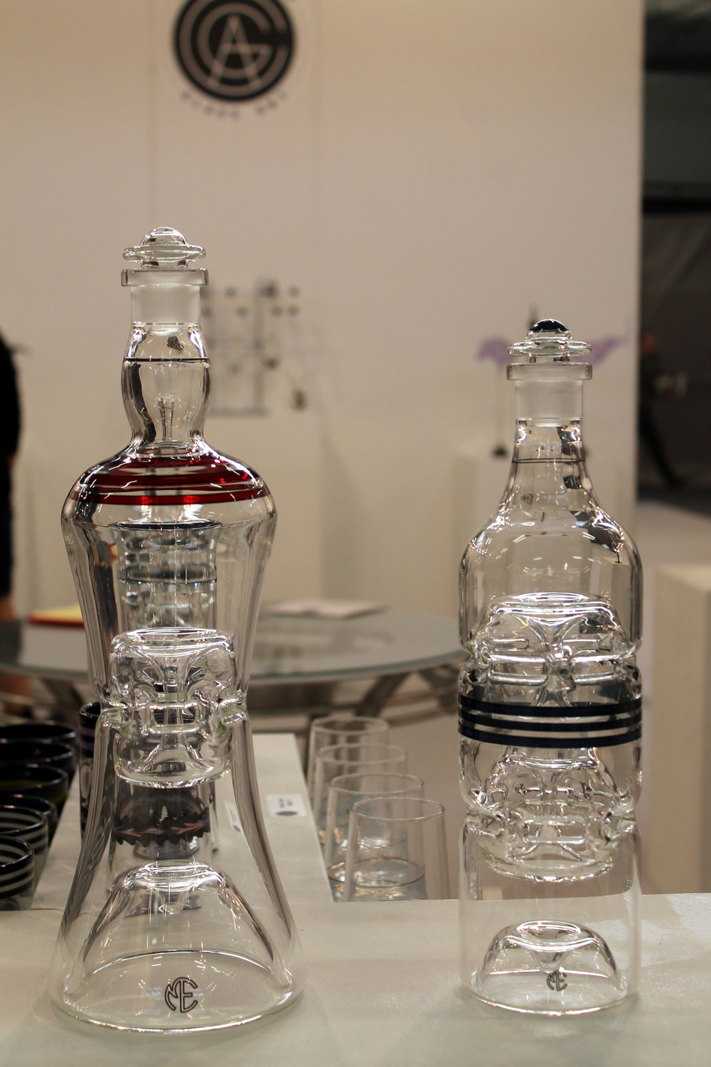 I was quite taken by the beauty of these glass decanters by Chesterfield Glass Art.