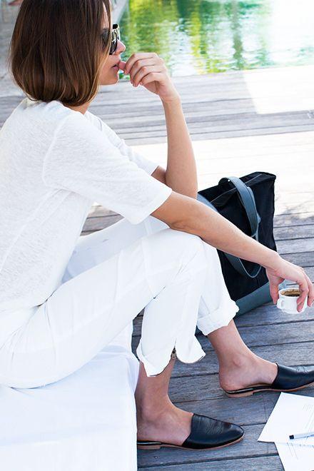 Stylish flat mulescomplement a casual weekend wardrobe. Image via Emerson Frye.