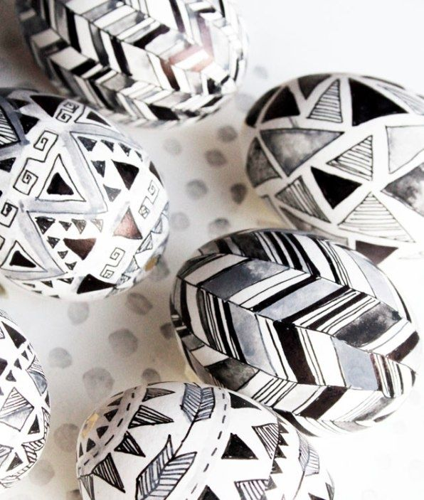 All it takes is a Sharpie - These black and white eggs may not be traditional in the pastel color sense, but they've got a creative, festive edge. A perfect project with teenagers or grown children. (Add drops of rubbing alcohol onto the eggs to give the Sharpie a watercolor-like effect.) Colored Sharpies, of course, make wonderful creations as well.