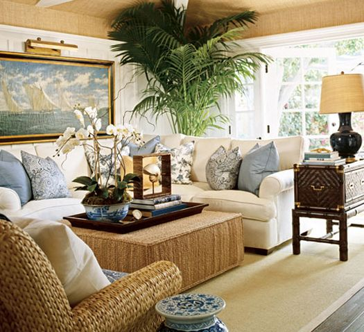 Barclay Butera, known for his elegant coastal style utilizes wicker to create casual yet dramatic spaces. Image via Traditional Home