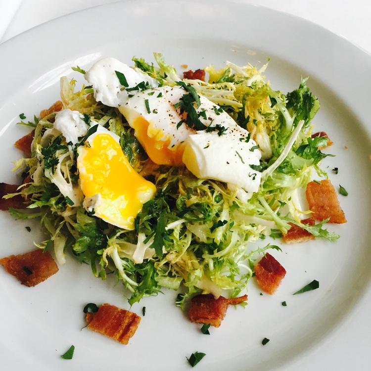 SaladFrisee aux Lardons. Image via Jessica Gordon Ryan