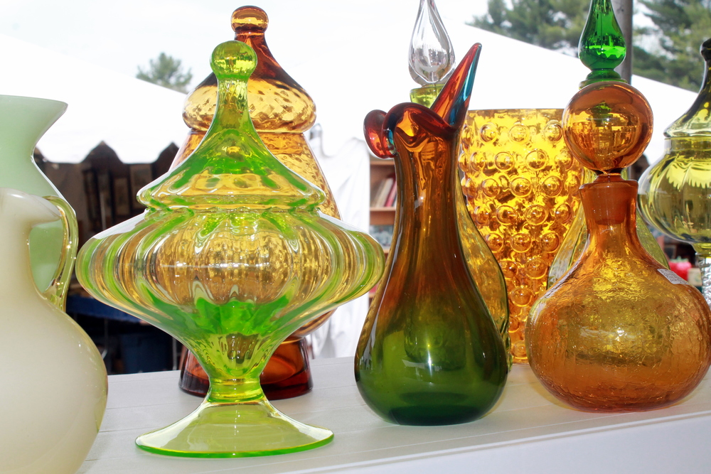 Vintage glassware in unique color, patterns and shapes can accessorize so many areas - and have so many uses.