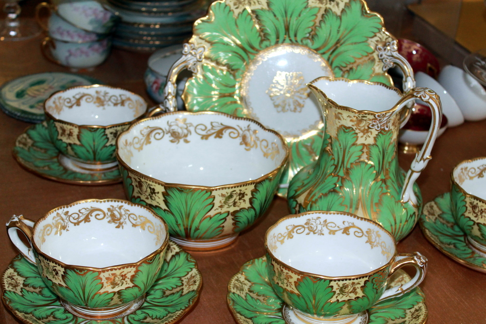 Vintage tea and coffee sets make for wonderful gifts.